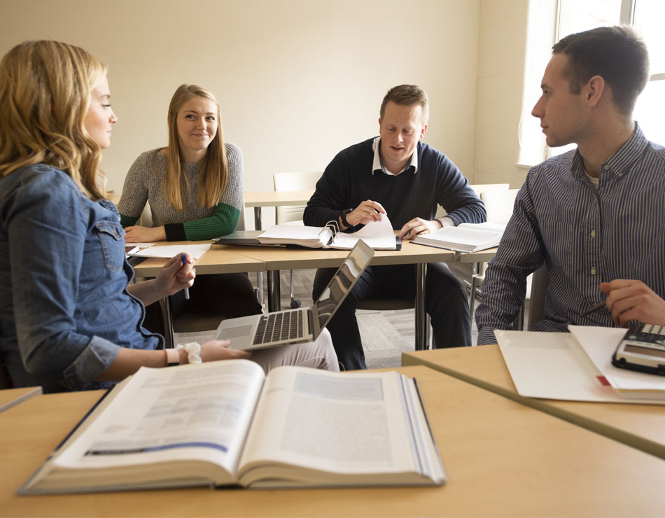 Accounting students working in a classroom